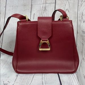 LANCEL Dark Red Leather Flap Top Satchel